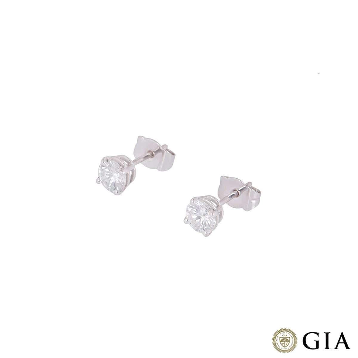 White Gold Diamond Stud Earrings 1.01ct TDW